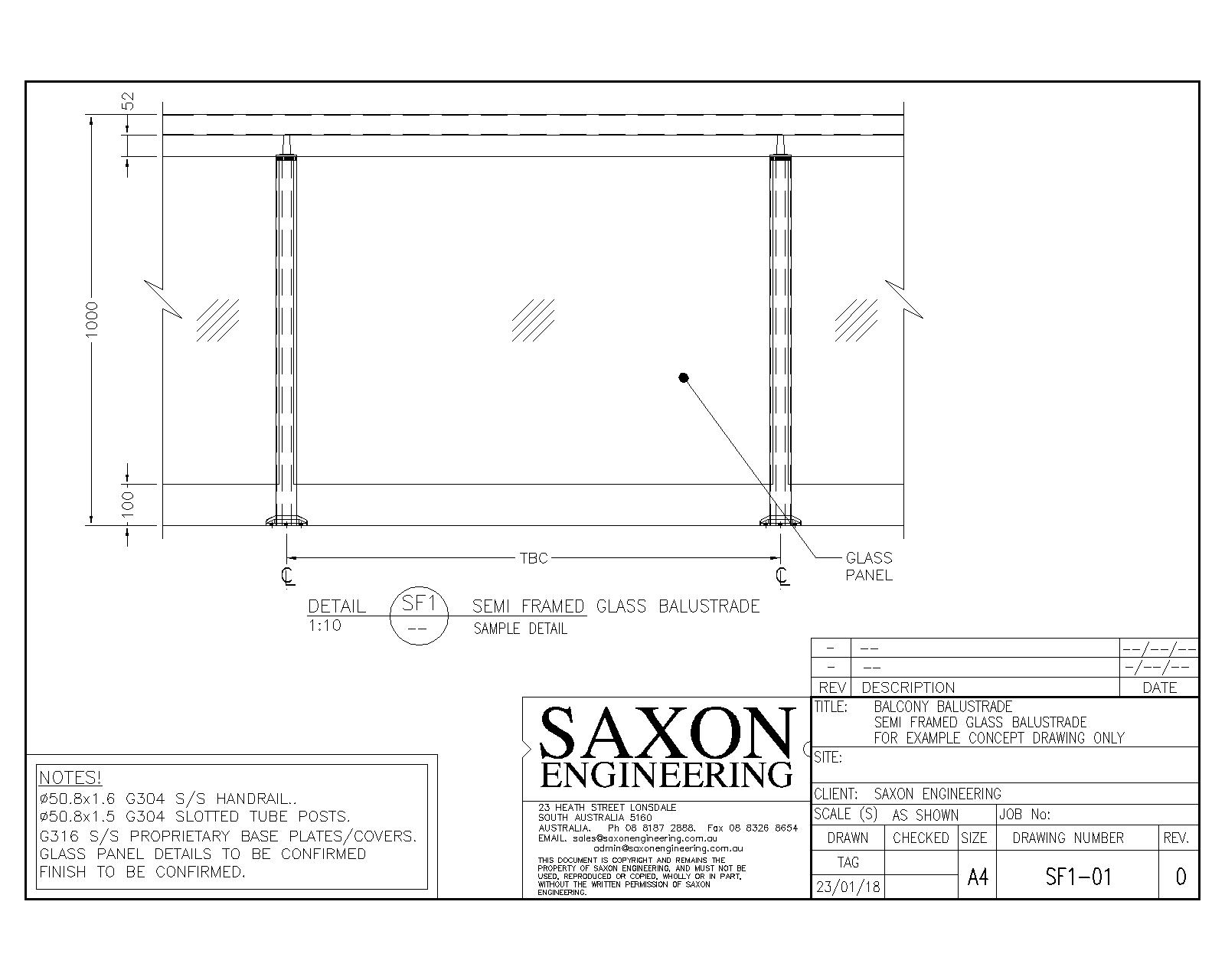 Handrail And Balustrade Drawings Saxon Engineering